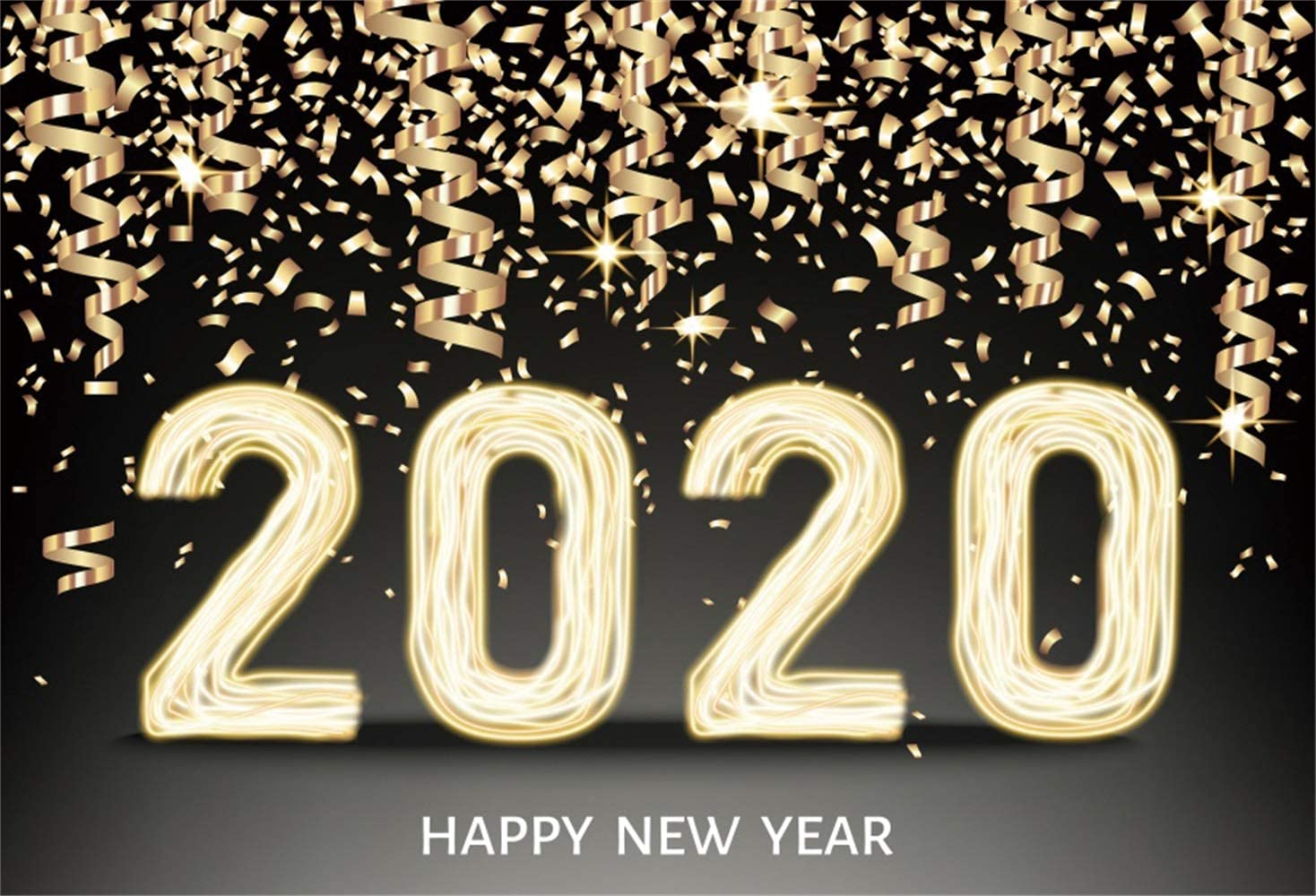 Leowefowa 20x10ft Happy New Year 2020 Backdrop Vinyl Sparkling Fireworks Vintage Clock Dial Countdown Dreamlike Bokeh Haloes Photography Background New Year Carnival Party Banner Wallpaper