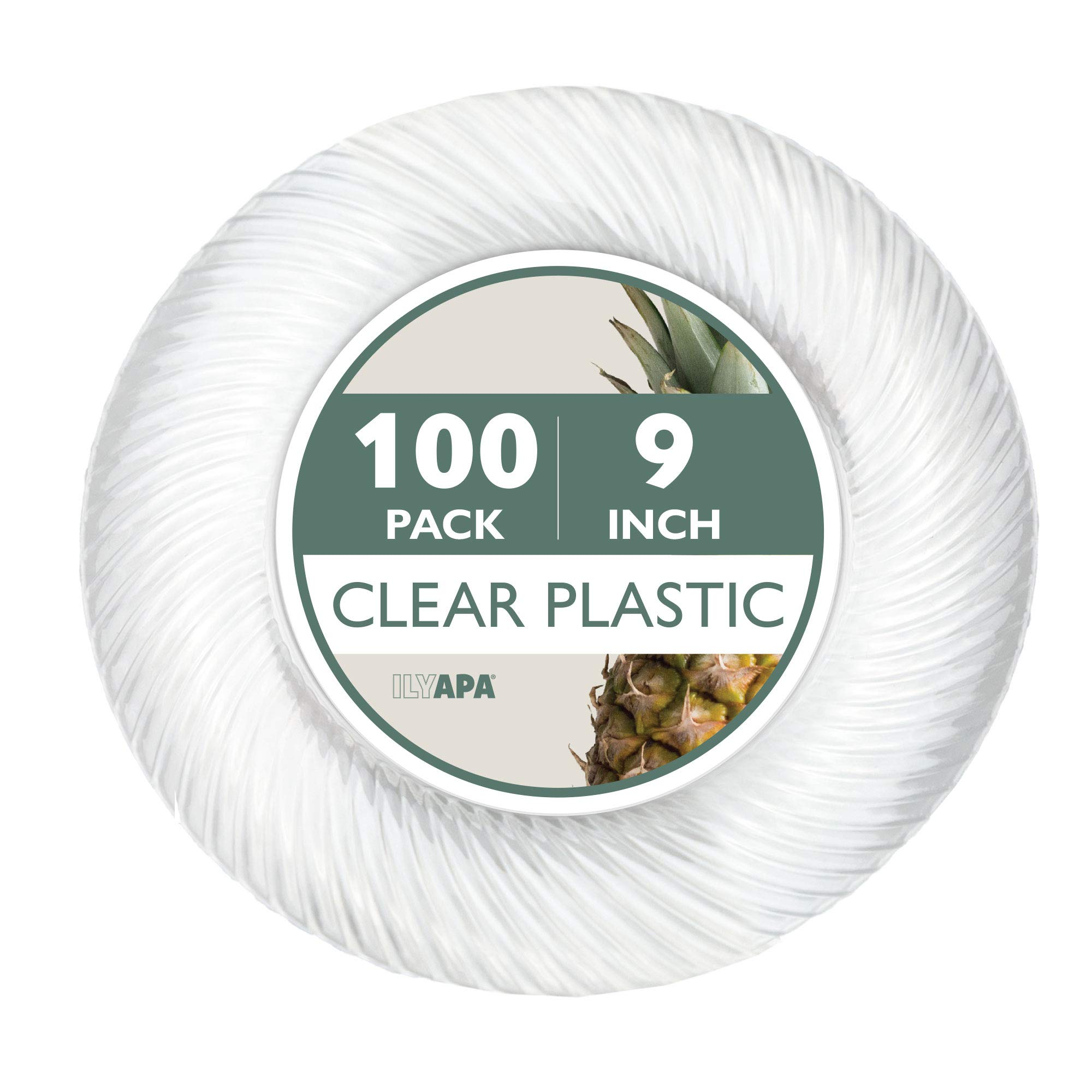 100 Premium Clear Plastic Plates for Dinner Party or Wedding - 9 Inch Fancy Disposable Plastics Plates by Ilyapa