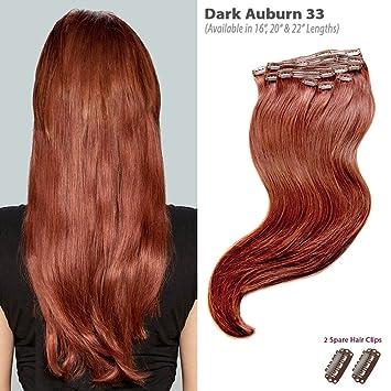 Amazon Com Dark Auburn 33 Clip In Hair Extensions 100 Remy