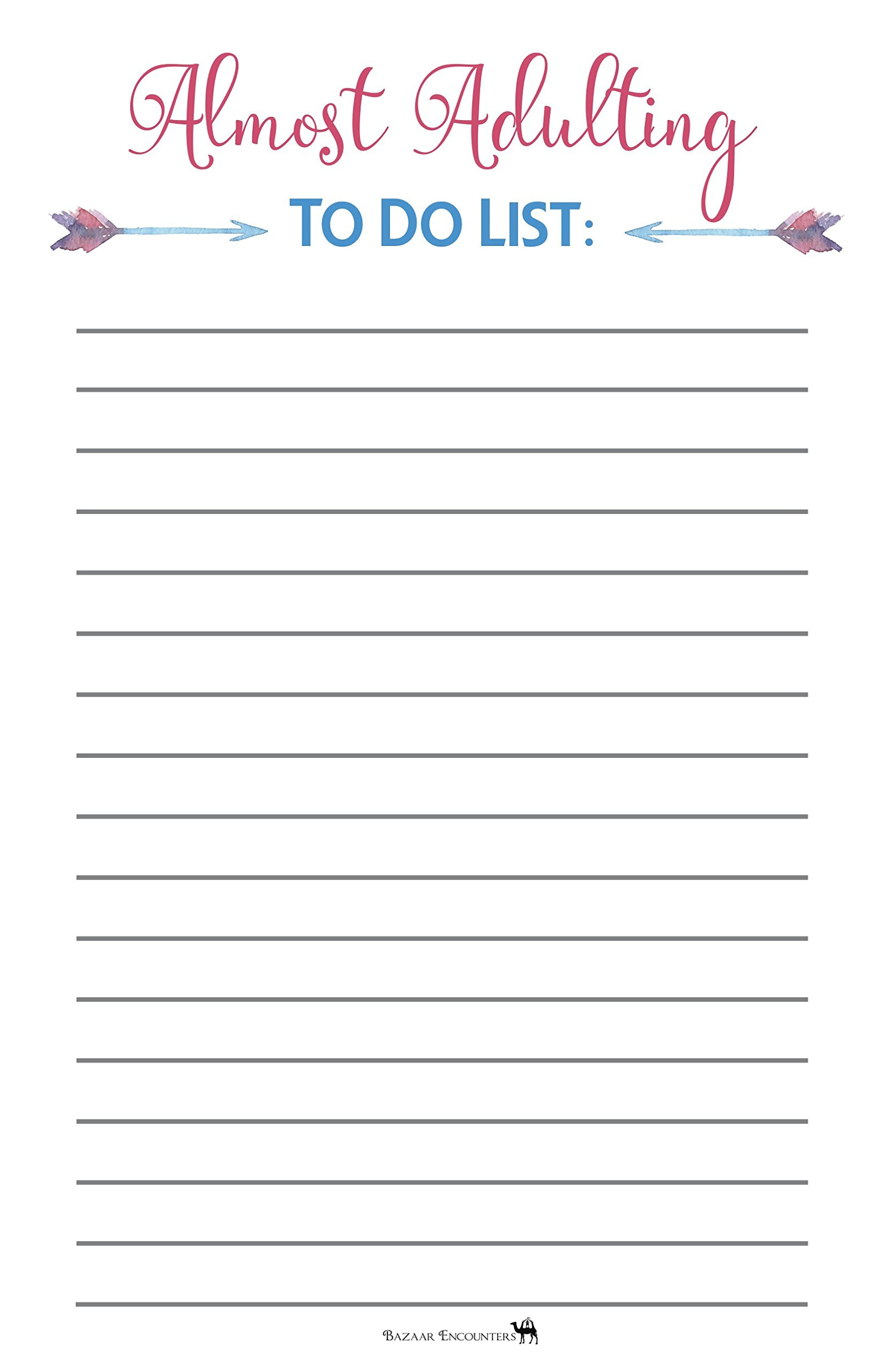 Almost Adulting To Do List Magnetic Pad, Graduation Gift Idea, Grocery List for Fridge, Funny Notepad with Magnet, 50 Sheets, 5.5 x 8.5, Great School, Dorm, Locker, Office Gift! Made in USA
