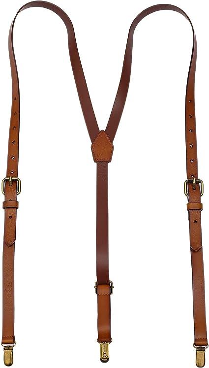Leather Suspenders for Men Y Back Design Adjustable Brown Gneuine Leather Suspenders Groomsmen Gift for Wedding