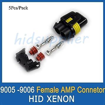 Amazon RUNSTAR 5Set Pack 9005 9006 Female Connector HID Xenon Plug Sockets Waterproof Adaptor Automotive
