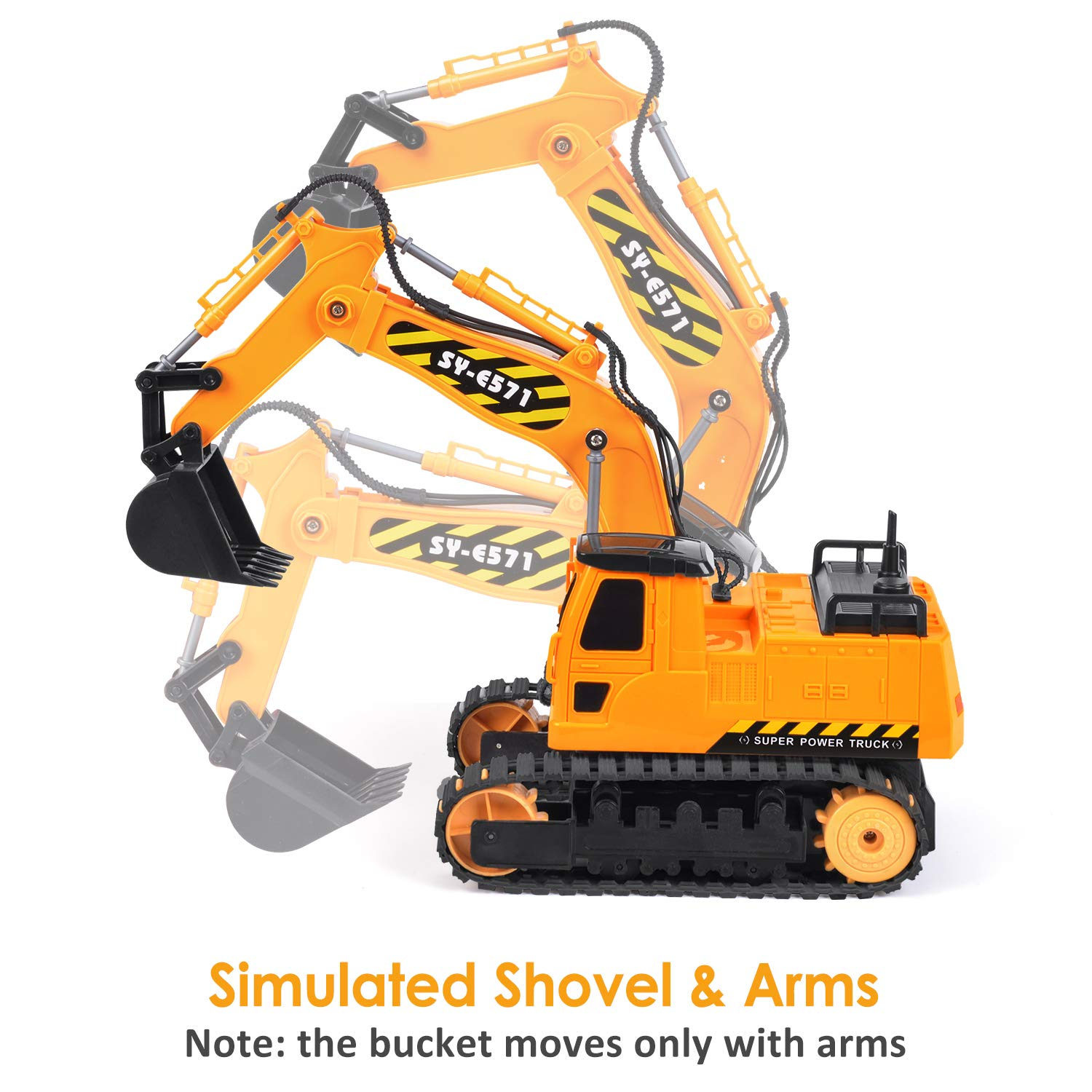 DOUBLE  E Remote Control Truck RC Excavator Toy with Rechargeable Battery Lights and Sounds 2.4GHz Construction Vehicles Tractor 1/26 by DOUBLE  E (Image #4)