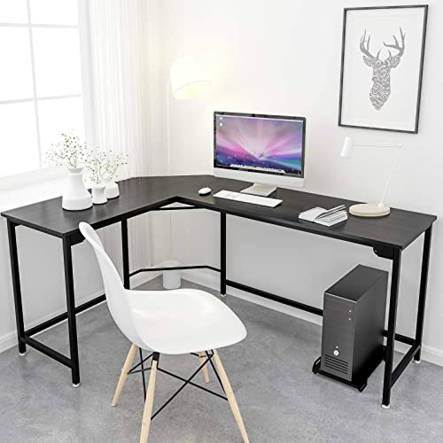 Simlife L-Shaped Desk Black Corner Gaming Computer Desk Modern Home Office PC Laptop Workstation Study Table Wood Metal