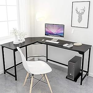 Simlife Modern L-Shaped Desk 66 Inch Computer Desk Corner Gaming Desk Home Office PC Laptop Workstation Study Table Wood & Metal,Black