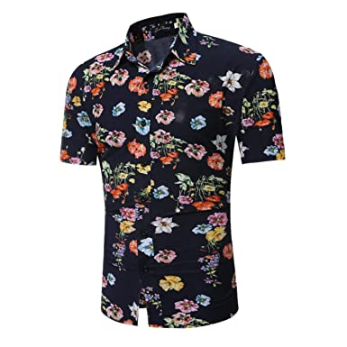 NCWK Mens Flower Floral Print Hawaiian Shirt Slim Fit Short Sleeve Shirt Casual