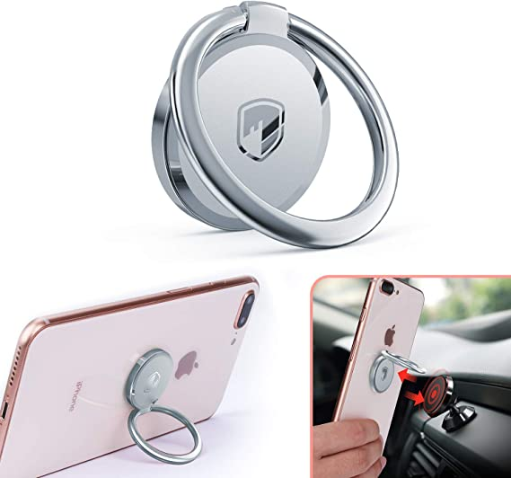 Silver AIRUIHE 360/° Rotation Comma Finger Loop Grip Mount Universal Smartphone Kickstand for iPhone X 8 7 Plus Samsung Galaxy S7 S8 and iPads Phone Ring Holder Magnetic