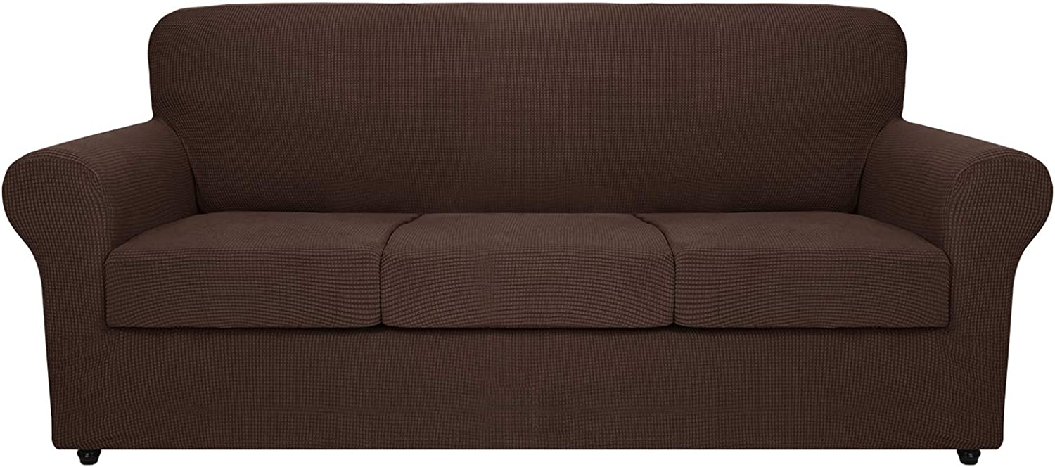 MAXIJIN 4 Piece Extra Large Couch Covers for 3 Cushion Couch Super Stretch XL Sofa Cover Dogs Pet Proof Furniture Protector Spandex Non Slip Couch Slipcover Washable (Extra Large, Coffee)