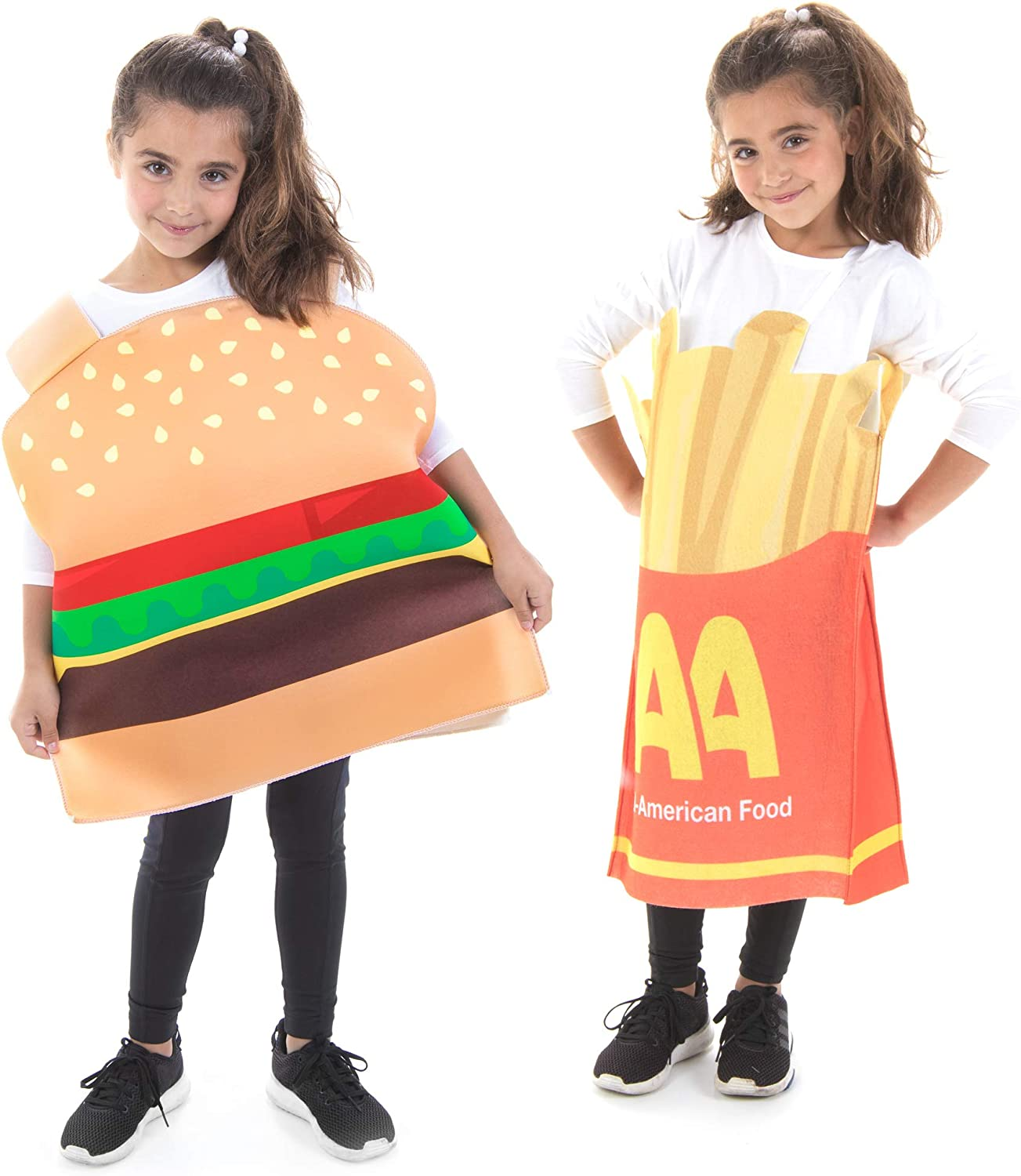 Kids Burger & Fries Best Friends Halloween Costumes Funny Food Suits 2-pk