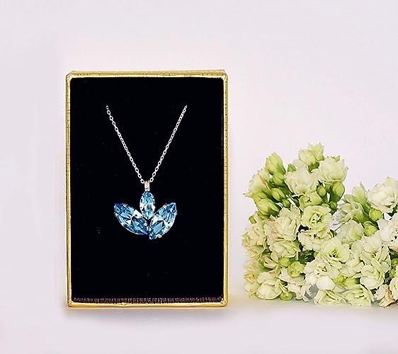 ebb0c100f Amazon.com: Swarovski Pendant Necklace Aquamarine Crystals: Handmade