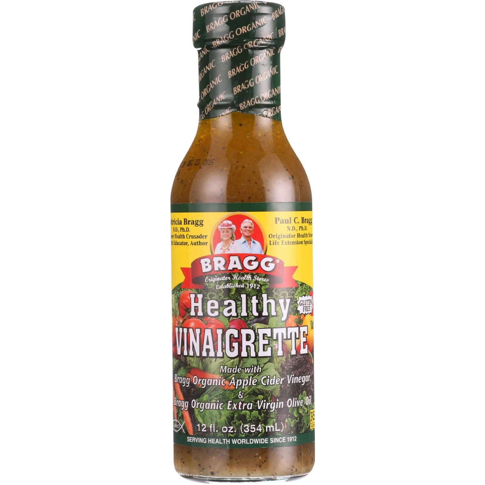 Bragg Vinaigrette - Organic - Healthy - 12 oz - case of 6 - 95%+ Organic - Gluten Free - Dairy Free - - Wheat Free-Vegan