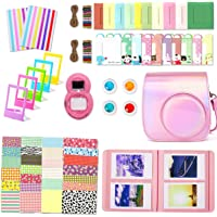 Leebotree Camera Accessories Compatible with Fujifilm Instax Mini 9 or Mini 8 8+ Include Case/Album/Selfie Lens/Filters/Wall Hang Frames/Film Frames/Border Stickers/Corner Stickers (Magic Pink)
