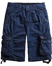 chouyatou Men's All-Season Loose Ripstop Basic Cargo Shorts