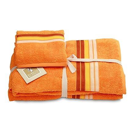Burrito Blanco - Juego de toallas 97 naranja de 30x50, 50x100 y 70x140 cm