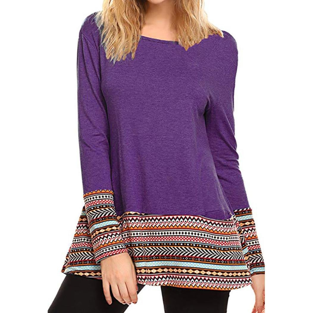 Clearance! Women's Blouse,ZTY66 Casual Long Sleeve Round Neck Floral Sweatshirt Loose T Shirt Blouses Tops (M, Purple)