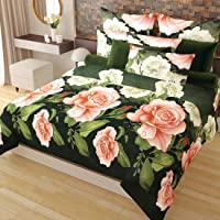 Home Candy Elegant Floral 3-D Reactive Print Double Bedsheet with 2 Pillow Covers - Multicolor (SRB-BST-301)