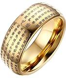 Rockyu タングステン リング メンズ ブラック 仏経 指輪 お守り 経文 リング シンプル ゴールド シルバー チタン リング