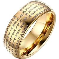 Rockyu タングステン リング メンズ 指輪 刻印 般若心経 仏経 指輪 お守り 経文 タングステン重い チタン軽い