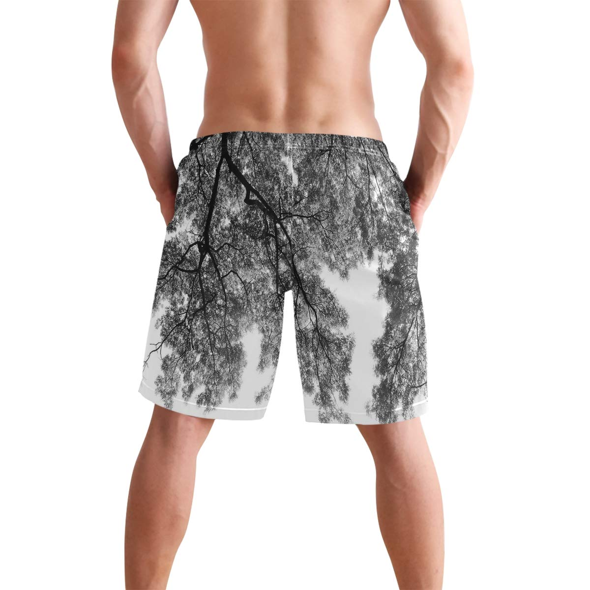 COVASA Mens Summer ShortsPhotograph of Trees from The Ground with Branches and