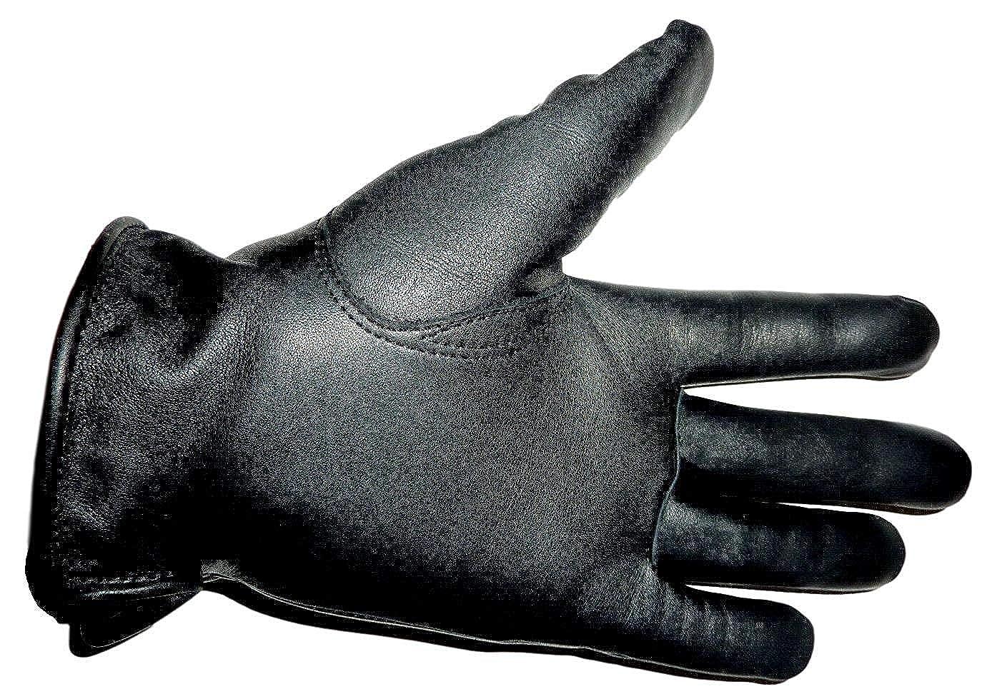 Leatherism Negro Negro Guantes de cuero aut/éntico