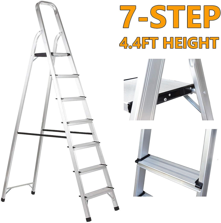 Folding Foldable Ladder Anti-Slip Max Step Ladder 5 Tread Stepladder,Aluminium Lightweight 4.8 KG Load 150 kg with Platform Malfunction Tray Ideal for Domestic Use