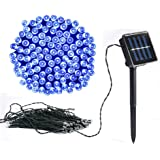 Vlio 8Modes Led Solar Power Fairy String Lights Outdoor Decorative Light 50 100 200 LEDs Waterproof IP44 with Light for Garden Home Wedding Party Christmas Halloween, 100Leds Blue, 50led