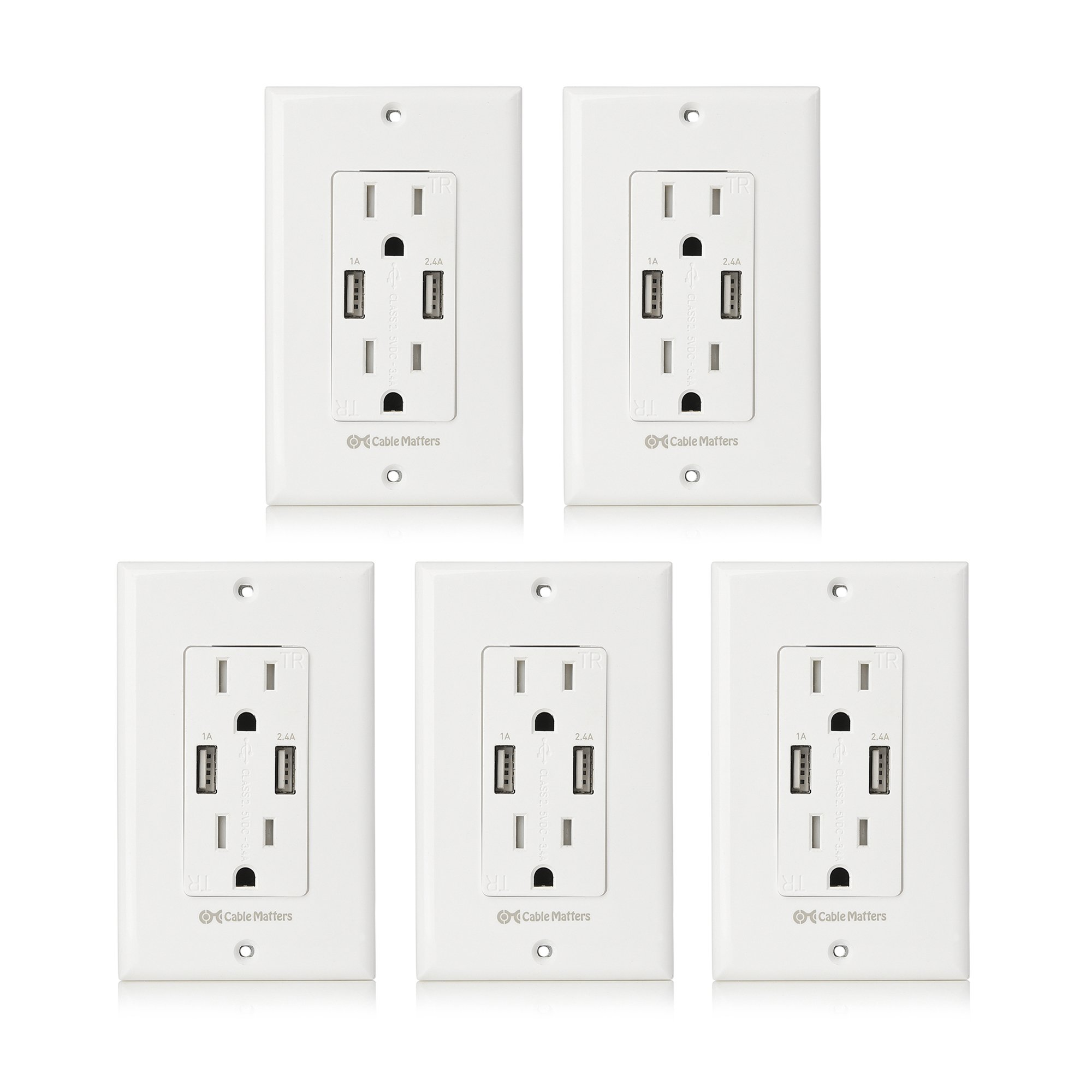 Cable Matters (5-Pack) Tamper Resistant Duplex AC Outlet with 3.4A USB Charging and Faceplate
