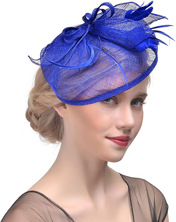 Handmade Femmes plume Mesh Fascinator chapeau Bandeau Pince à Cheveux accessoires DD