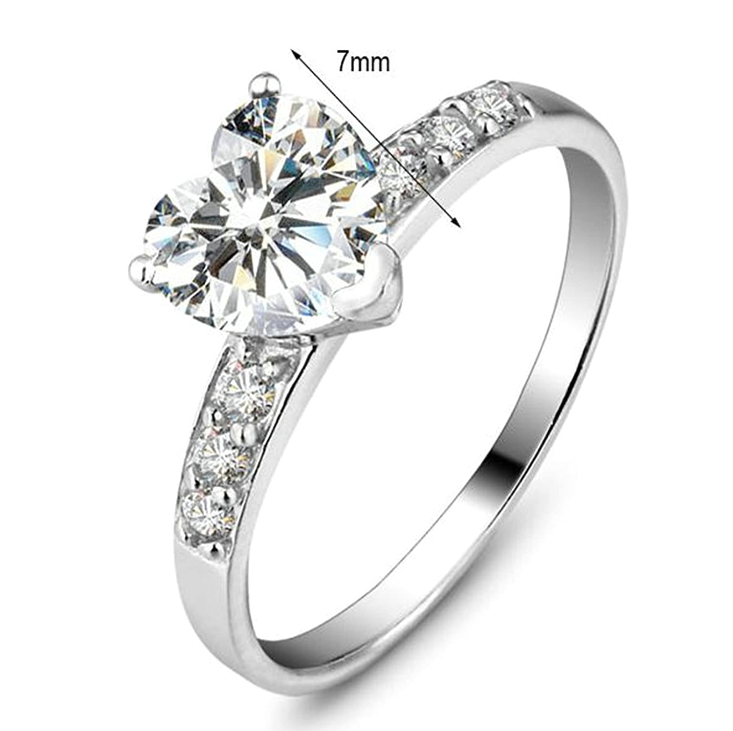 Amazon.com: Beydodo Women Silver Rings, Promise Ring for Wedding Solitaire Ring Heart Cut Cubic Zirconia Size 6-8: Jewelry