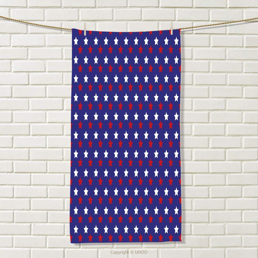 smallbeefly USA Sports Towel United States of America Theme Federal Holiday Celebration Revolution Design Absorbent Towel Dark Blue Red White Size: W 35.5'' x L 15'' by smallbeefly (Image #1)