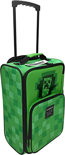 JINX Minecraft Creepy Creeper Rolling Carry On Luggage, Green, 18