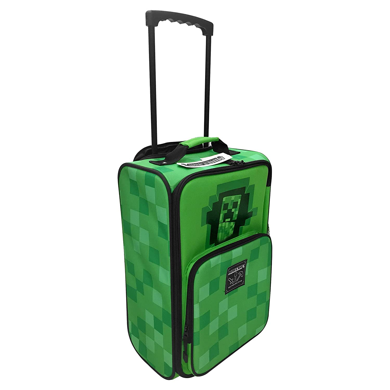 JINX Minecraft Creepy Creeper Rolling Carry On Luggage (Green, 18) 18) 806409558506