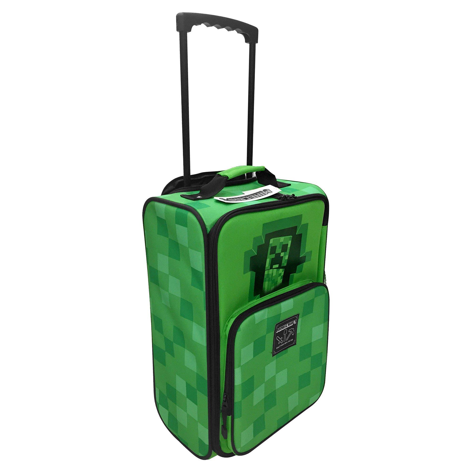 JINX Minecraft Creepy Creeper Rolling Carry On Luggage (Green, 18'')