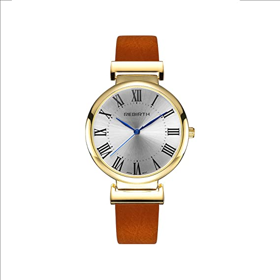 Amazon Com Gold Men S Quartz Watch Brown Leather Band Nice