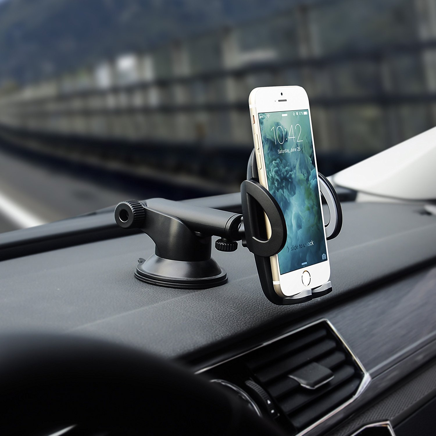 Car Phone Holder, Universal Windshield Windscreen Dashboard Phone Holder Mount Car Cradle with One-button Release and Strong Sticky Suction Pad (SS)