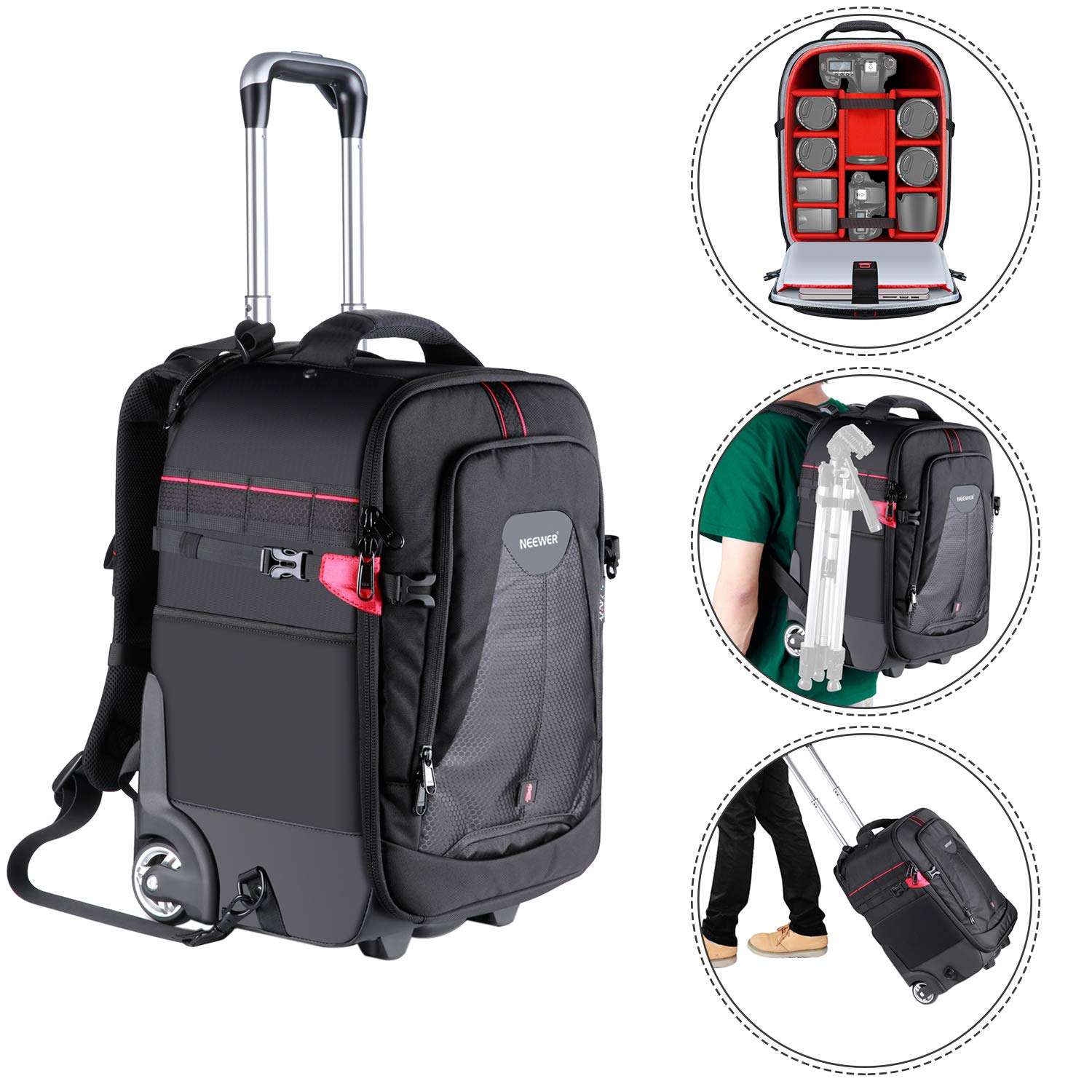 Neewer 2-in-1 Rolling Camera Backpack Trolley Case-Anti-Shock Detachable Padded Compartment, Hidden Pull Bar,Durable,Waterproof for Camera,Tripod,Flash Light,Lens,Laptop (Red Interior) by Neewer