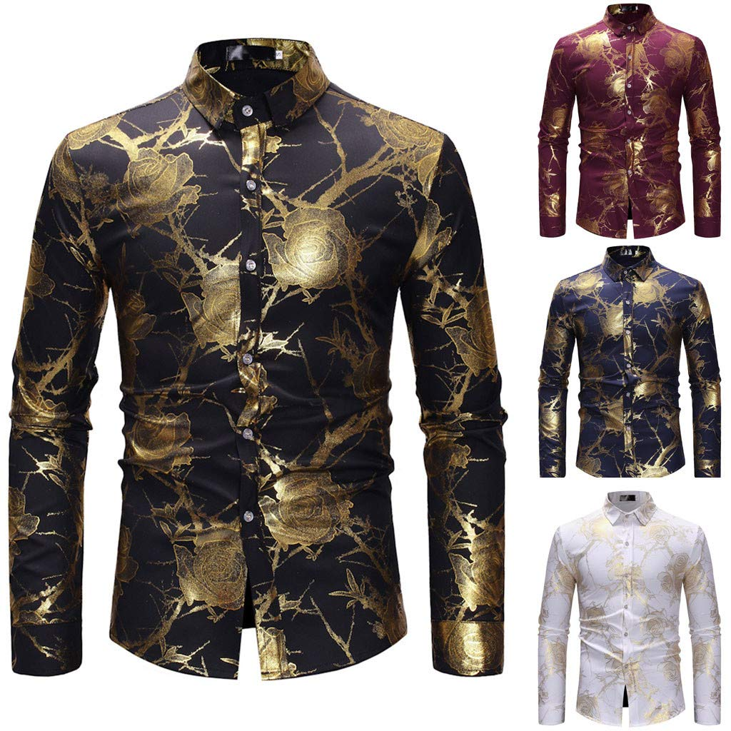 Men Casual Top Long Sleeve Autumn Spring Shirts Painting Large Size Blouse