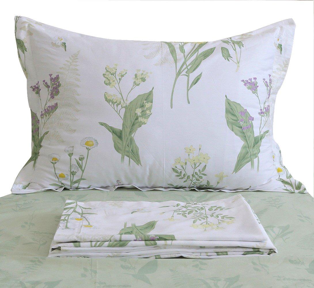 FADFAY Shabby Green Floral Sheet Set Green Yellow Purple Blue Flowers Cotton Girls Bedding Set 4-Piece-Sheet Set,2pillowcases- Full Size