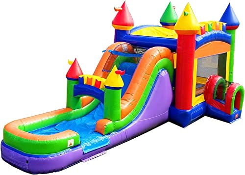 Rainbow-Mega-Bounce-House-with-Tunnel-Entrance-Wet-or-Dry-Water-Slide