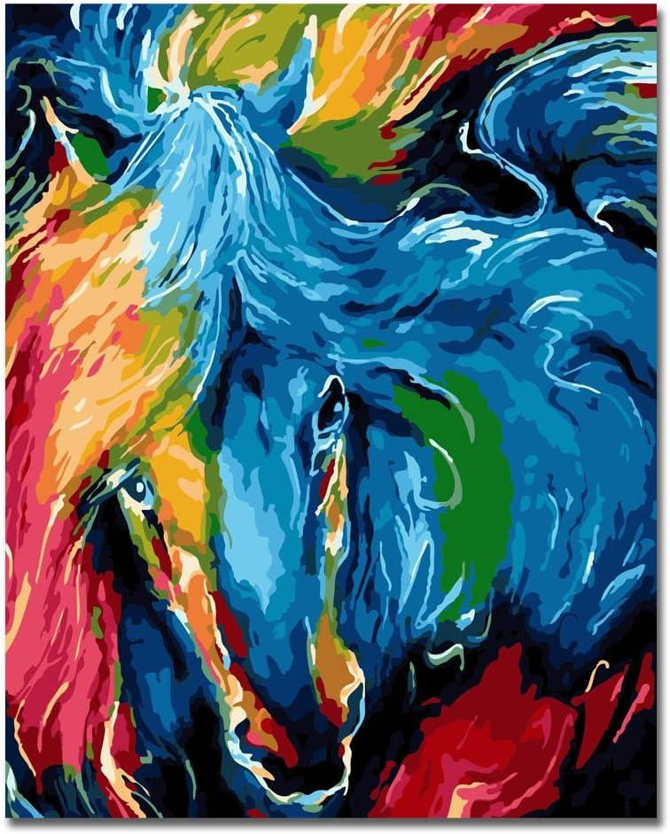 RIHE Sin Marco, Pintura por números Bricolaje DIY Pintura al óleo Vistoso Caballo Impresión de la Lona Mural Decoración hogareña