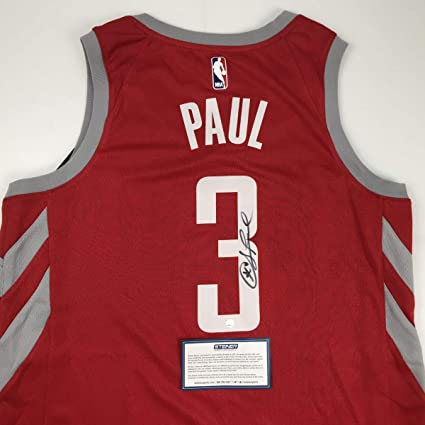 new concept ac08d 8aed6 Autographed/Signed Chris Paul Houston Rockets Red Basketball ...