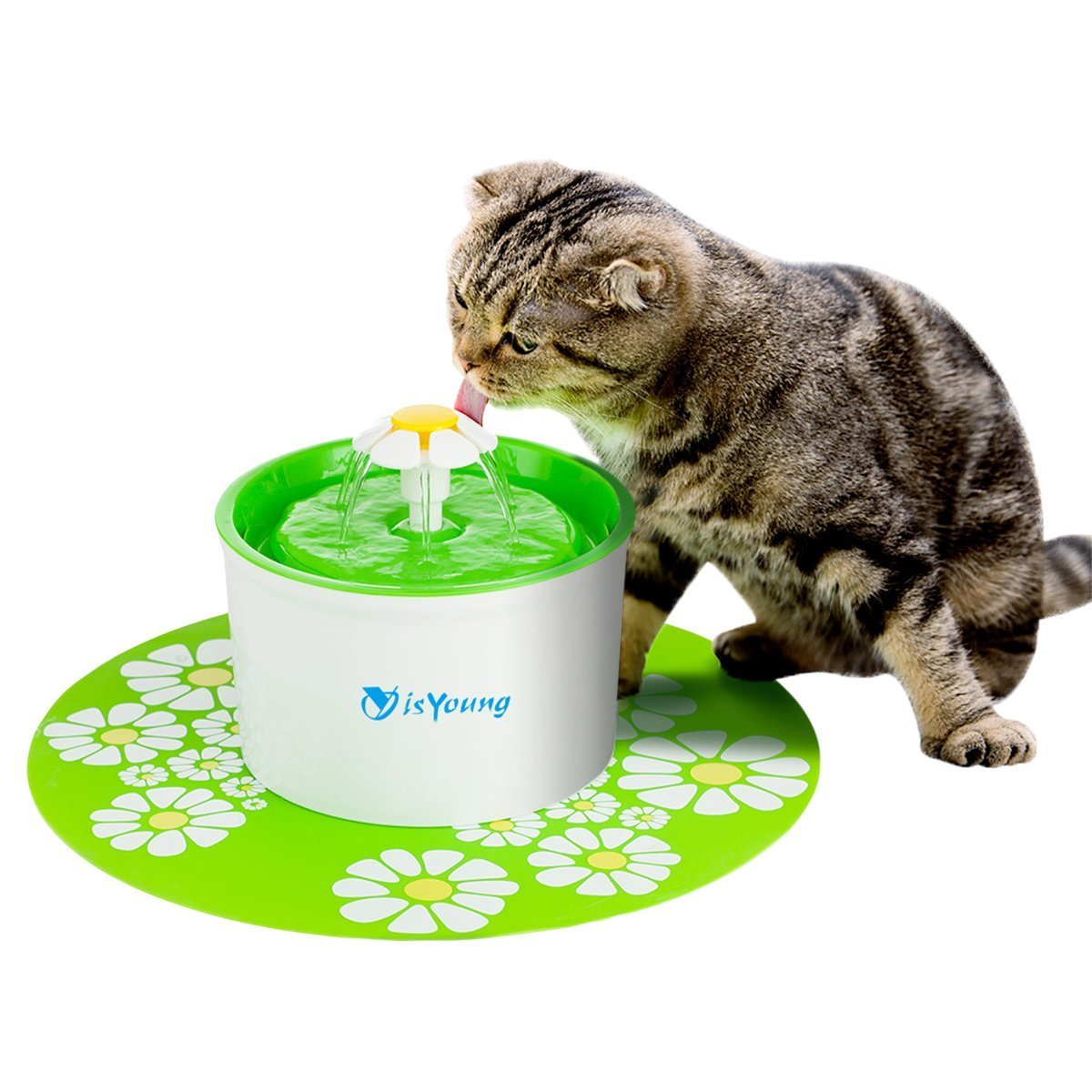 isYoung Pet Drinking Water Fountain 1.6L Dog&Cat Pet Fountain Automatic Pet Water Dispenser with Replacement Filter and Flower Style, Super Quiet and Hygienic