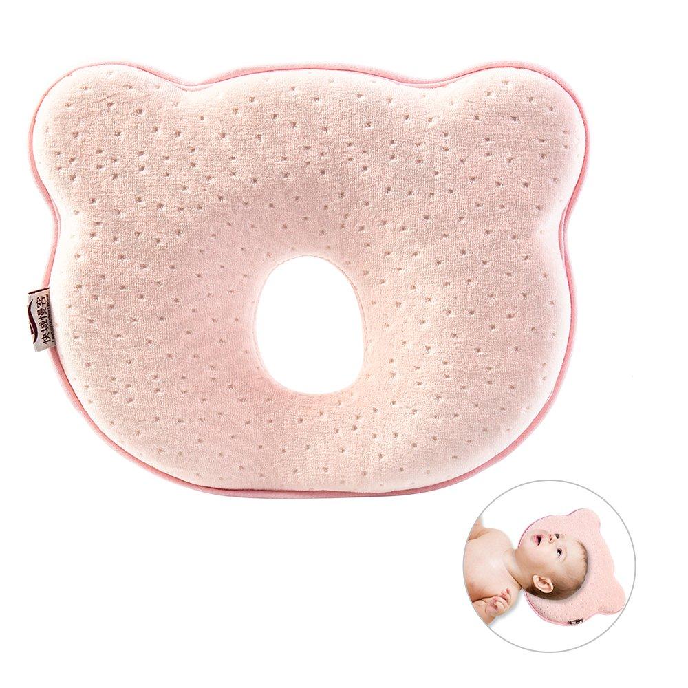 Almohada ortopédica para bebés, almohada de espuma viscoelástica para evitar la aparición de plagiocefalia rosa rosa