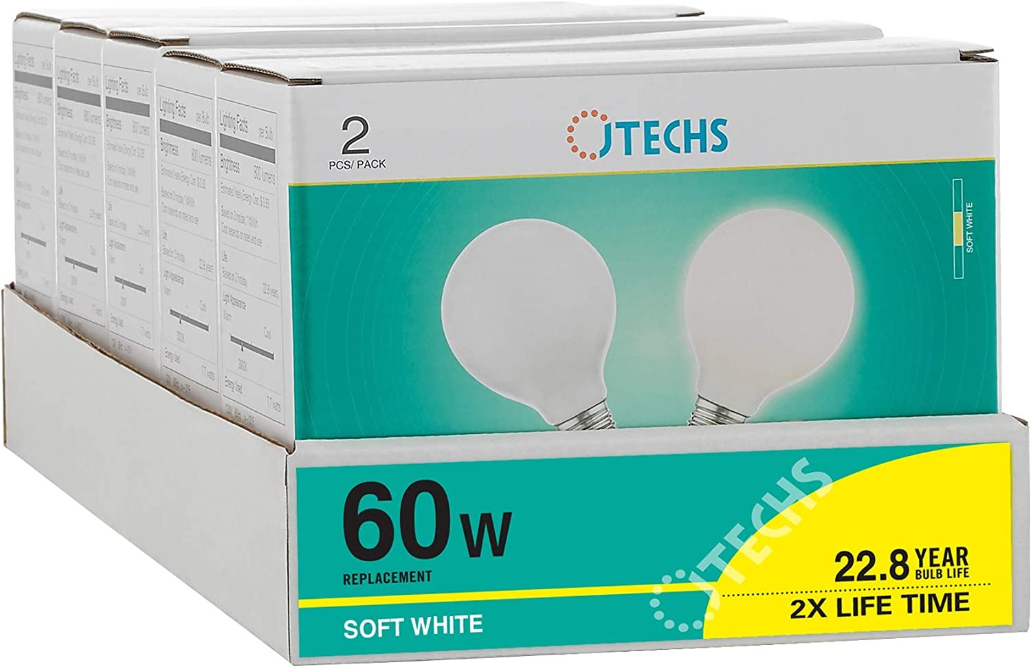 Gives a Good Representation of How You Will Look in The Workplace and Low Light Areas JTechs 10 Pack Frosted G25 LED 60 Watt Replacement Providing 800 Lumens of Light Often Used in Bathroom
