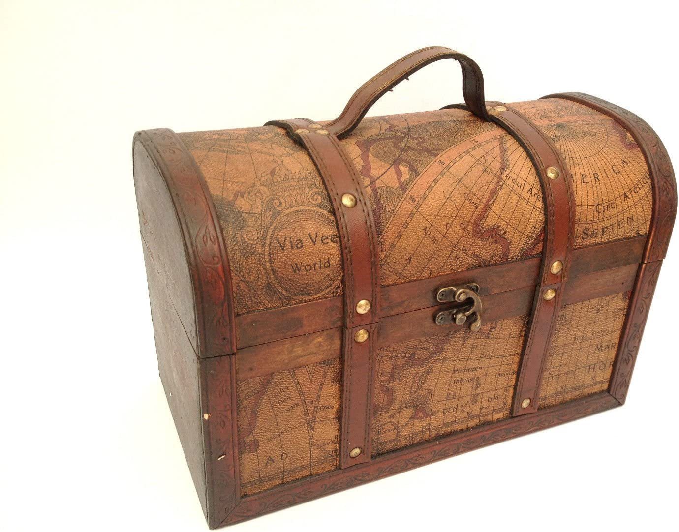 Treasure Chest Trinket Box Mens Jewellery Organiser Wooden Pirate Storage Box with Lid Metal Brass Leather Antique Vintage Style Trunk Map Themed