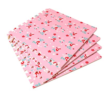 Amazon.com: 4 Large Childrens Pink Foam Play Mats with ...