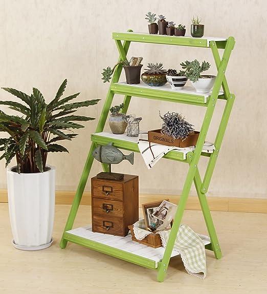 ZENGAI Plegable Estante De Maceta Madera Maciza Personalidad Escalera Almacenamiento Plantas 2 Niveles Soporte De Exhibición Rack, 5 Colores Jardinería (Color : Verde, Tamaño : 70x107cm): Amazon.es: Jardín