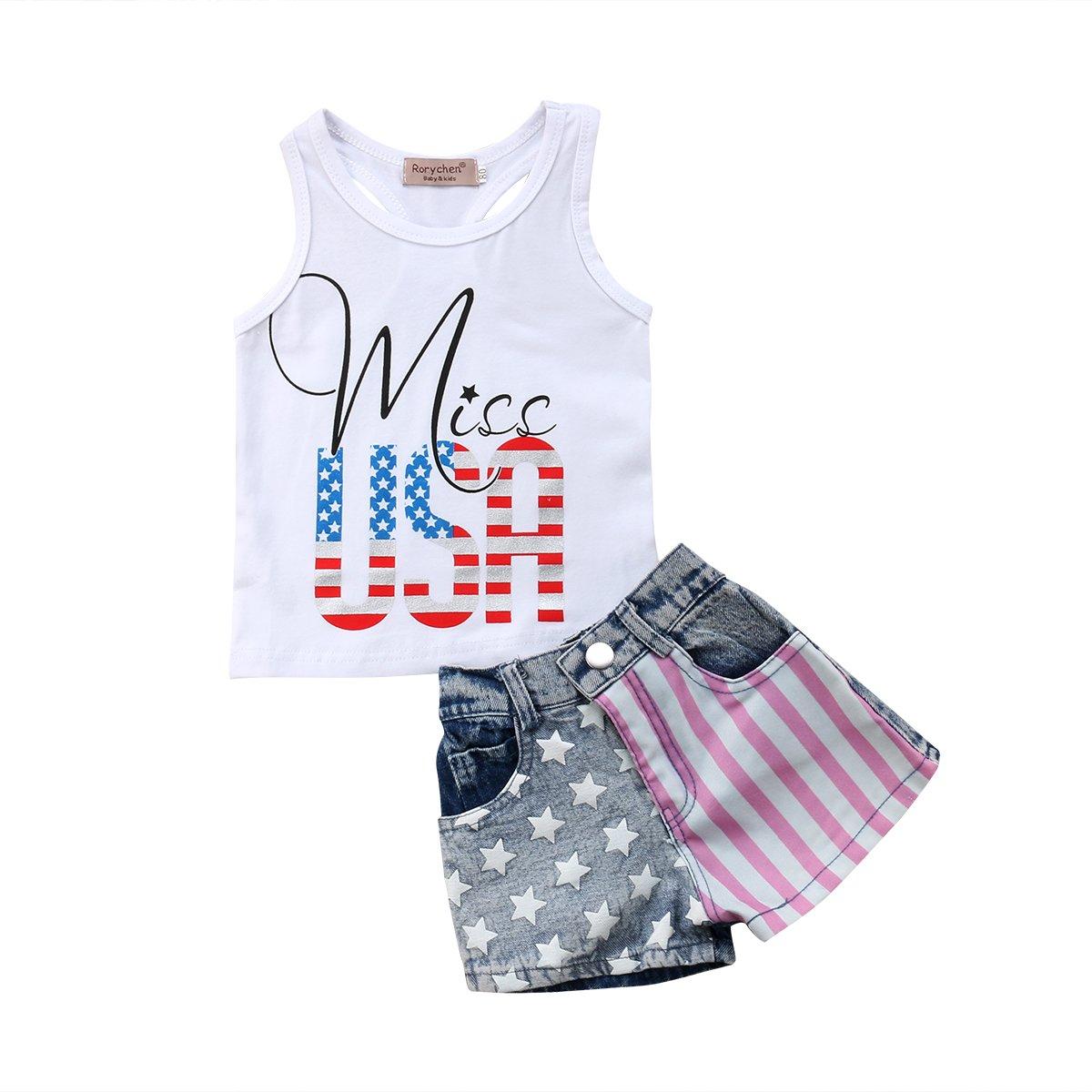 Infant Baby Girl 4th of July Clothes Outfits Set,Newborn Tassel Vest +Denim Shorts Pants (2-3T, Blue)