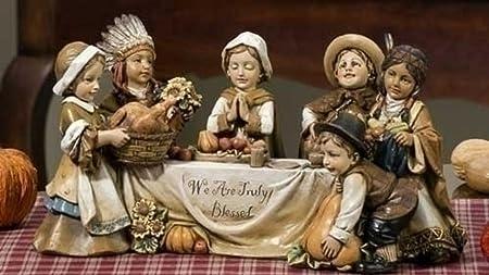 Roman 10.5 Joseph s Studio Harvest Pilgrim Children Thanksgiving Dinner Figure