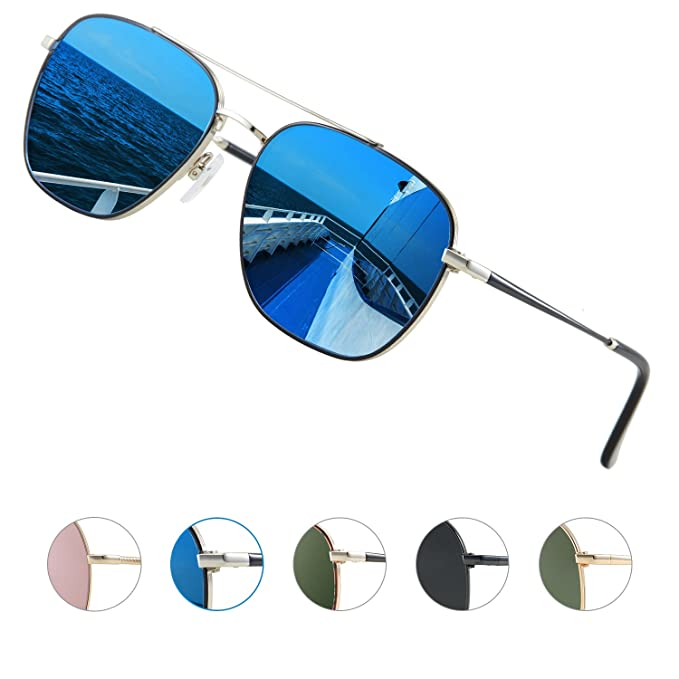 Elegear Gafas de sol Hombre 2018 Gafas Hombre Polarizadas Cuadrado Marco de  acero inoxidable 385079cbcac8